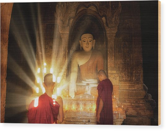 Young Buddhist Monk Are Reading With Sun Light Wood Print by Anek Suwannaphoom