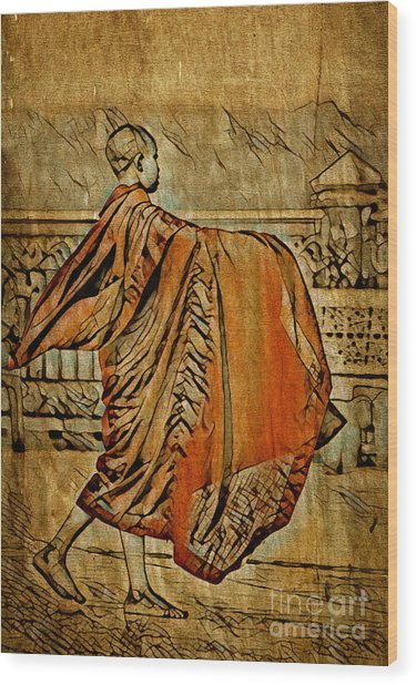 Young Buddhist Monk Wood Print