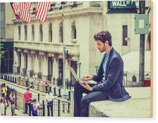 Young Businessman Working On Wall Street In New York Wood Print