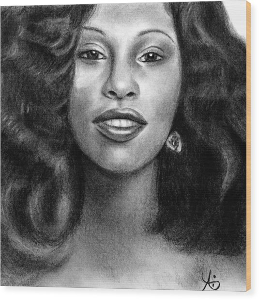 Young Chaka Khan - Charcoal Art Drawing Wood Print