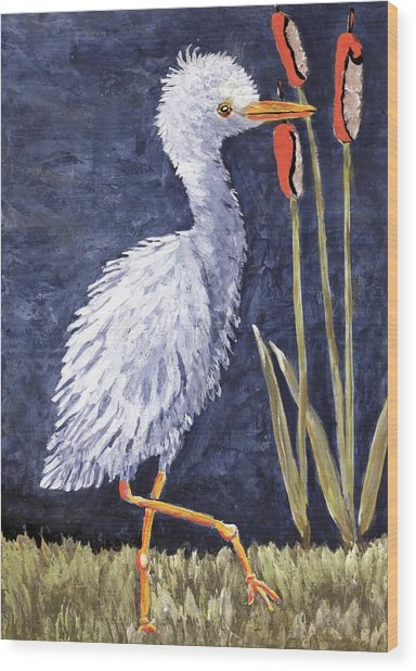 Young Egret Takes A Walk Wood Print