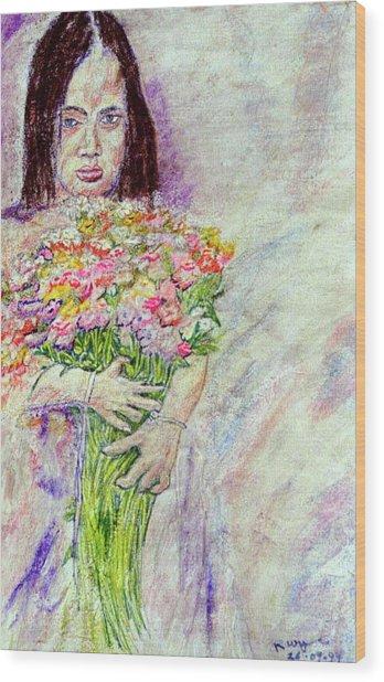 Young Flower Girl Wood Print by Richard Wynne