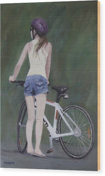 Young Girl And Bicycle Wood Print