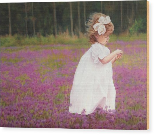 Young Girl Picking Flowers Wood Print