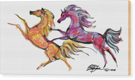 Young Horses Playing Wood Print