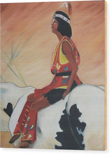 Young Indian Native Wood Print by Suzanne  Marie Leclair