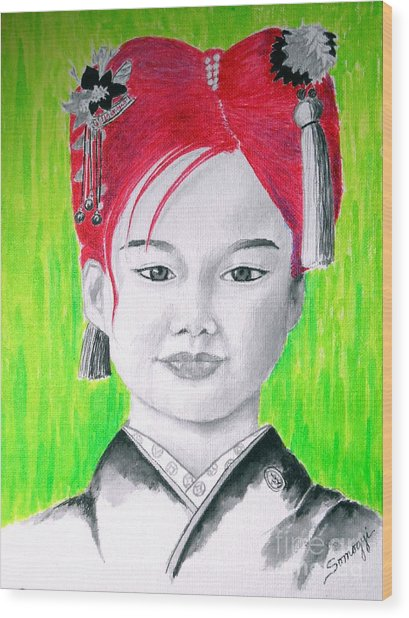 Young Japanese Beauty -- The Original -- Portrait Of Japanese Girl Wood Print