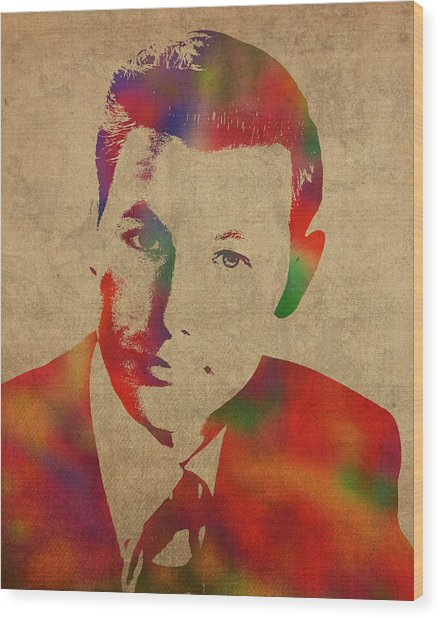 Young Johnny Carson Watercolor Portrait Wood Print