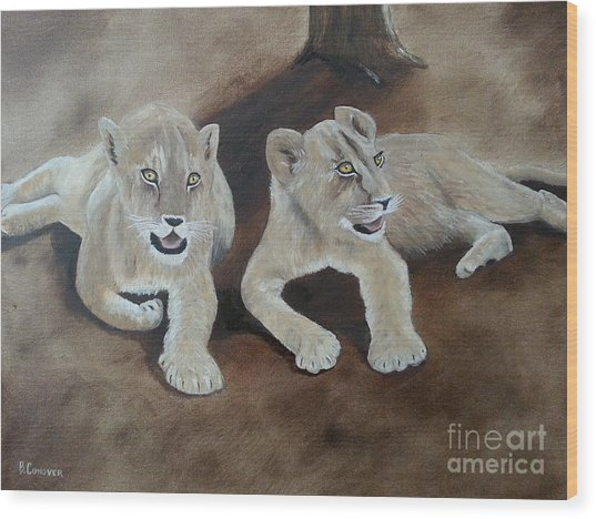 Young Lions Wood Print