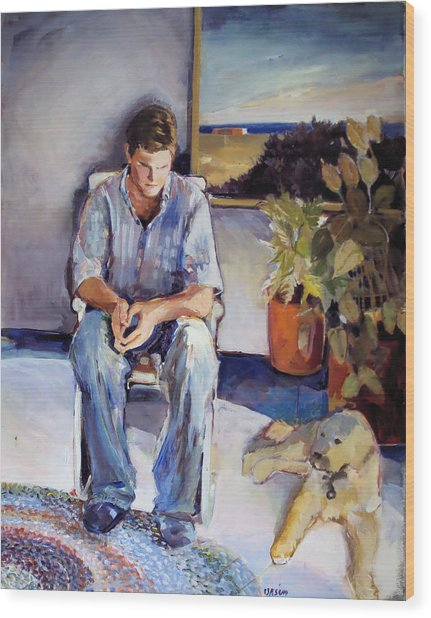 Young Man And His Dog Wood Print