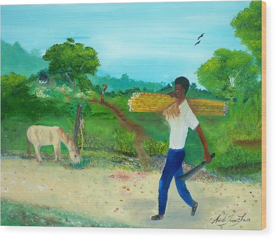 Young Man Carrying Sugarcane Wood Print