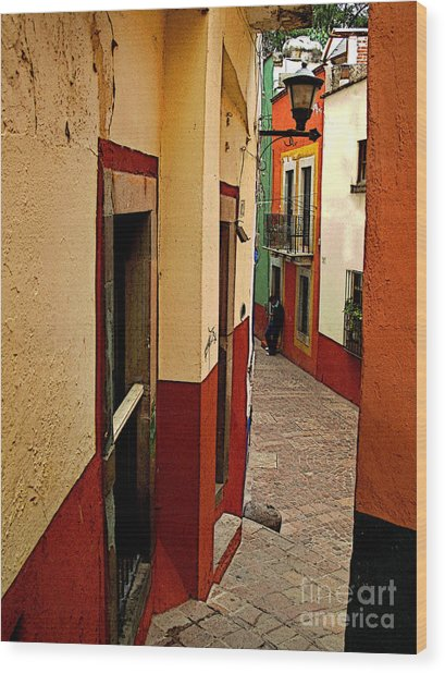 Young Man In The Alley Wood Print by Mexicolors Art Photography