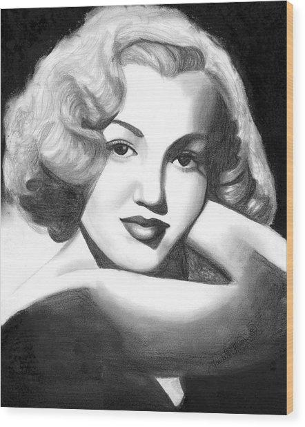 Young Marilyn Wood Print by Scarlett Royal