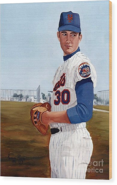 Young Nolan Ryan - With Mets Wood Print
