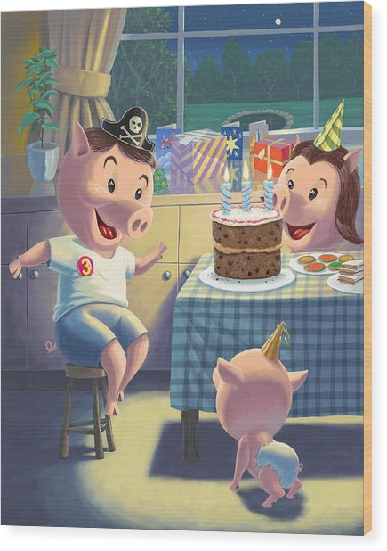 Young Pig Birthday Party Wood Print