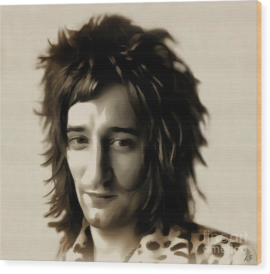 Young Rod Stewart Wood Print
