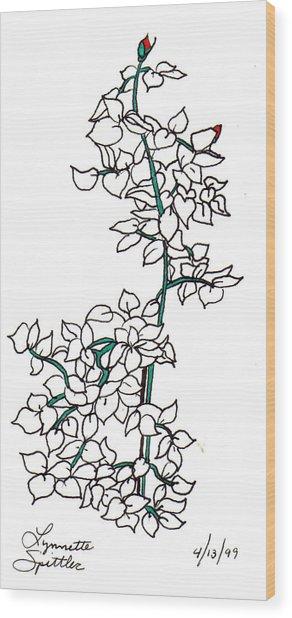 Young Rose Bush Wood Print by Lynnette Jones
