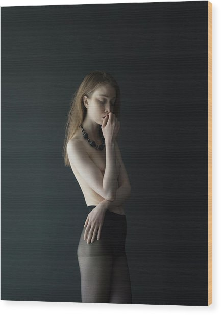 Young Woman In Pantyhose Wood Print