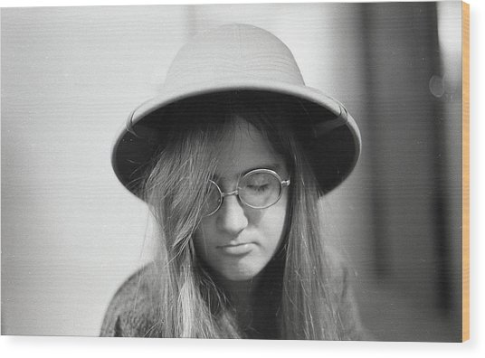 Young Woman With Long Hair, Wearing A Pith Helmet, 1972 Wood Print