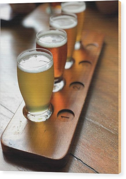 Your Choice Of Four Draft Beers From Wood Print by Arya Swadharma