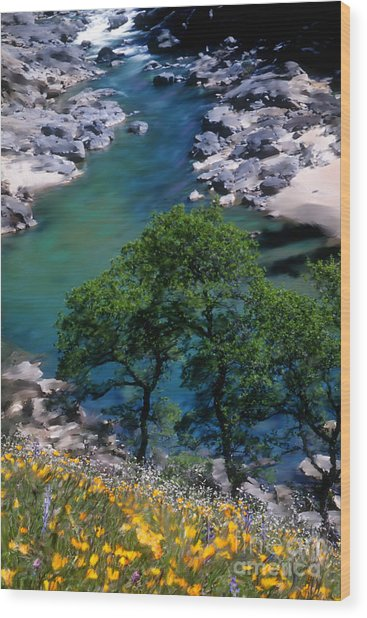 Yuba River In Spring Wood Print