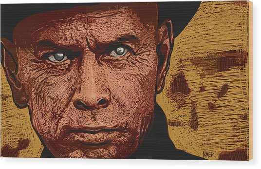 Wood Print featuring the digital art Yul Brynner by Antonio Romero