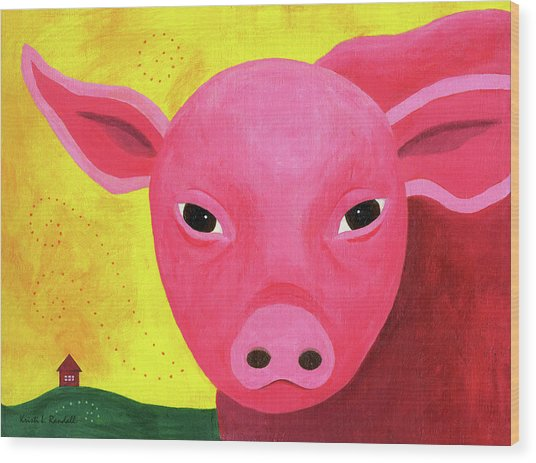 Yuling The Happy Pig Wood Print by Kristi L Randall
