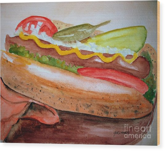Yummy Chicago Dog Wood Print