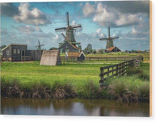Zaanse Schans And Farm Wood Print
