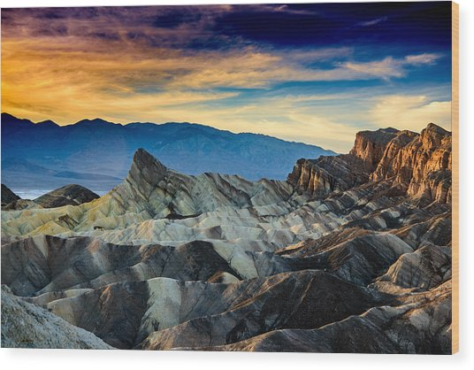 Zabriskie Point At Sundown Wood Print