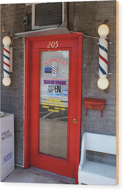 Zacs Barber Shop Wood Print