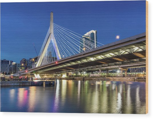 Zakim Bridge And Charles River Wood Print