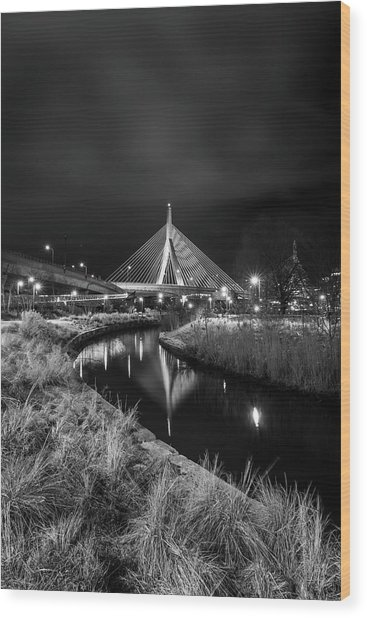 Zakim Bridge Reflecting Under A Moody Sky Wood Print