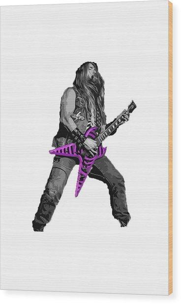 Zakk Guitarist Wood Print by Andrea Mazzocchetti