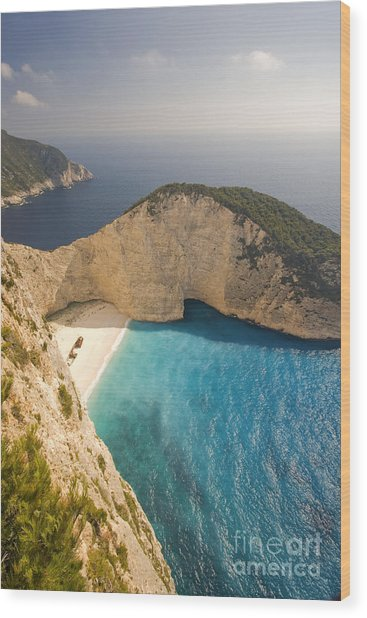 Wood Print featuring the photograph Zakynthos Beach by Juergen Held