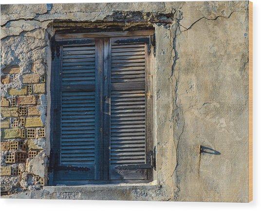Zakynthos Town Window Wood Print