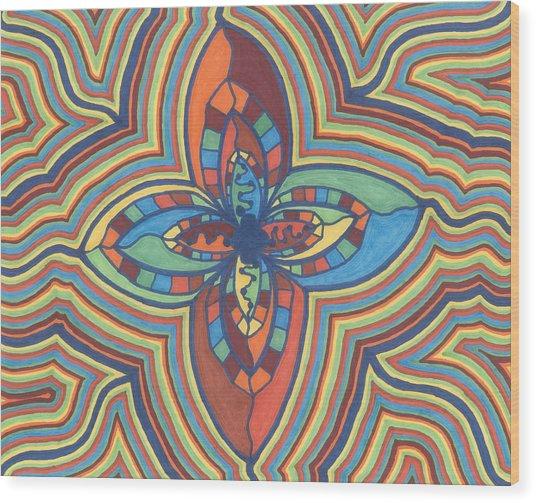 Zany Flower Wood Print
