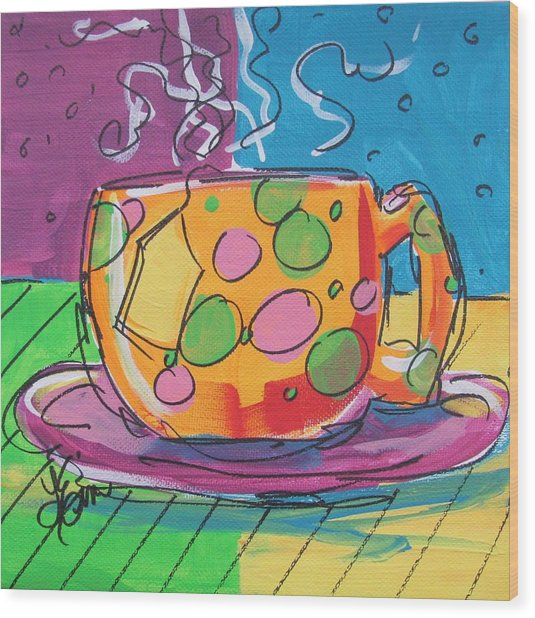 Zany Teacup Wood Print