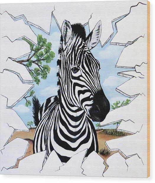Zany Zebra Wood Print