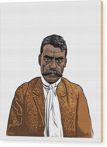 Wood Print featuring the digital art Zapata by Antonio Romero