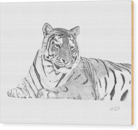 Zarina A Siberian Tiger Wood Print