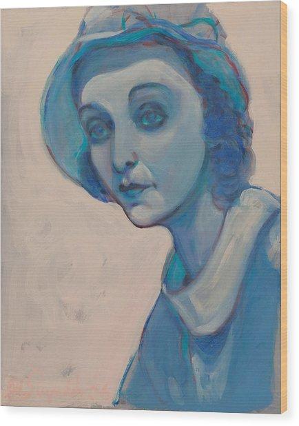 Zasu In Blue Wood Print