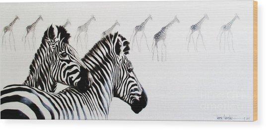 Zebra And Giraffe Wood Print