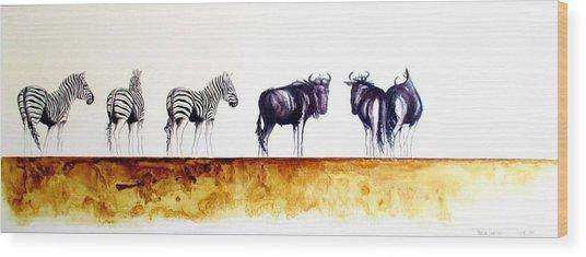 Zebra And Wildebeest Wood Print