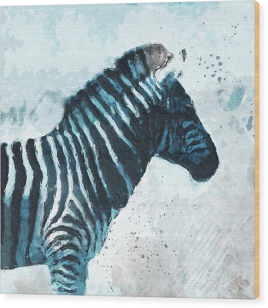 Zebra- Art By Linda Woods Wood Print