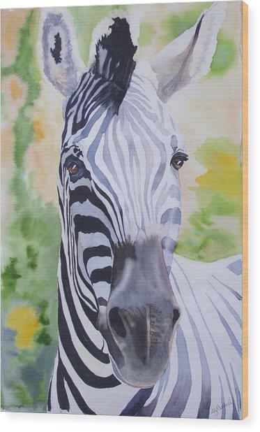 Zebra Crossing Wood Print by Ally Benbrook