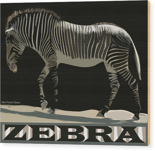Zebra Design By John Foster Dyess Wood Print
