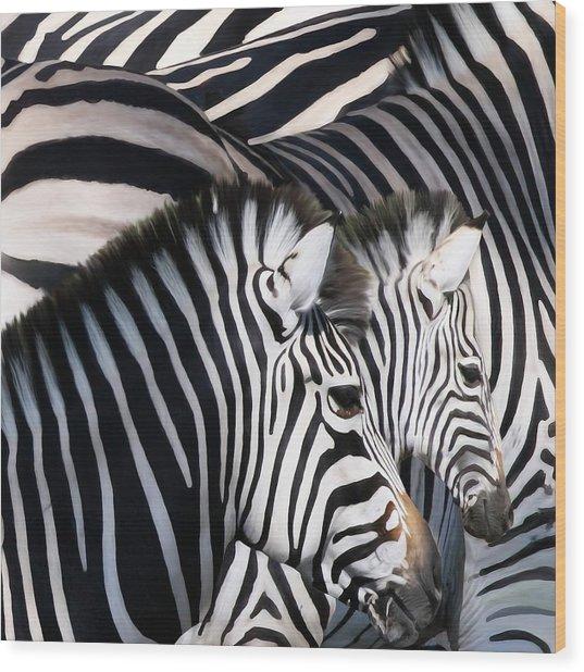 Zebra Family Wood Print by Johnnie Boswell