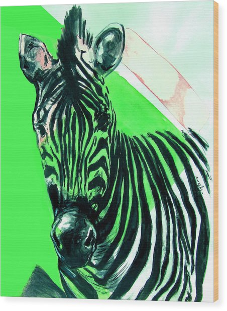 Wood Print featuring the painting Zebra In Green by Rene Capone