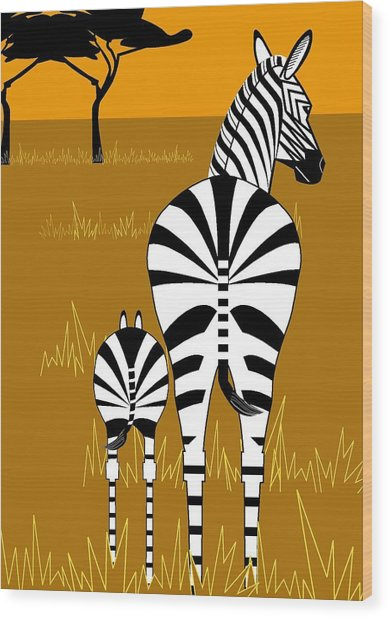 Zebra Mare With Baby Wood Print